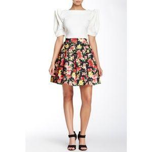 Gracia Floral Print Bandage Skater Skirt